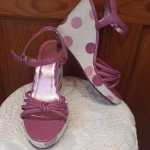 Coach Pink Polka Dot Lona Wedge Heels 8.5 B